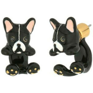 KATE SPADE French Bulldog Ear Jacket Earrings
